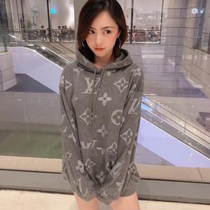 2020 Las mujeres con capucha Hip Hop informal peinados de algodón transpirable tela suelta de cuerpo completo Imprimir cuatro estaciones pueden desgaste M-XL de la camiseta de los pares