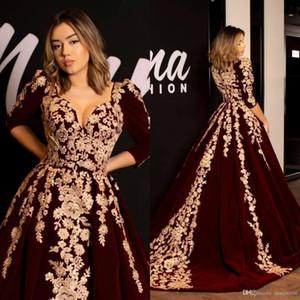 Arabic Dubai Abaya Burgundy Velvet Prom Dresses Caftan V Neck Half Sleeve Gold Luxury Lace Applique Dresses Evening Wear Formal Dress