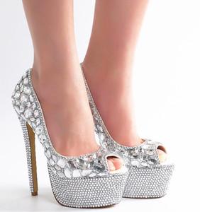 strass show de diamantes sapatos de casamento T calçado Saltos New Handmade Peep Toe Plataforma de noiva sapatos lindos graduação Partido Prom Bombas