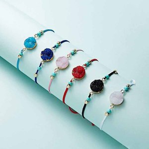 A Wish Colorful Natural Stone Woven Paper Card Bracelet Adjustable Lucky Red String Rope Charm Bracelets Bangle Femme Fashion Jewelry