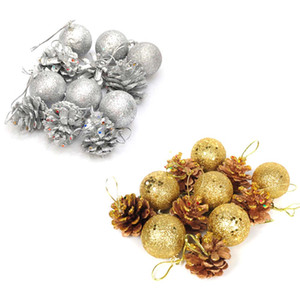 12pcs Christmas Tree Hanging Balls Gold Silver Pine Cone Color Drawing Decorations Ball Xmas Christmas Decoration For Home