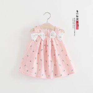 Çocuk elbise Koreli çocuk elbise çocuk elbise yaz pruva çiçek baskı askı etek prenses etek