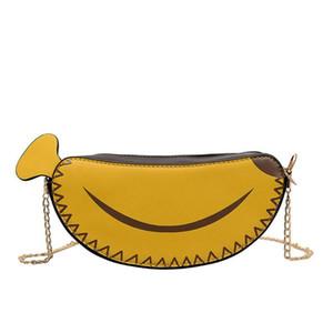 2019 new women's girl banana shape shoulder bag PU leather cute chain messenger bag handbag