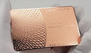 Alta qualidade personalizado 0.3mm de espessura de aço inoxidável de ouro rosa de metal cartões