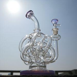 여과기 슈퍼 소용돌이 유리 봉을 살짝 조작 토네이도 사이클론 휴지통 굴착 (12) 휴지통 튜브 물 파이프 14mm 기억 만 XL137 보라색 리사이클