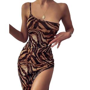 Um Strap Spaghetti Sexy Vestido 2020 de Moda de Nova Leopard Impressão Vestidos Mulheres desgaste da noite e Clube