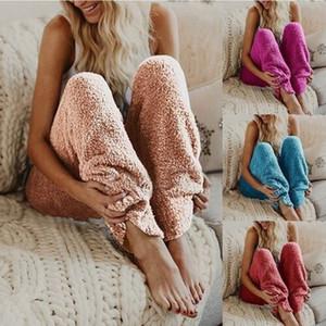 Mulheres Calças de Dormir Calças de Pijama Quente de Pelúcia Calças de Lã Casuais Calças Soltas Calças Moda Desgaste da Noite Cor Sólida Capris Longo YFA906