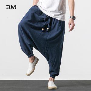 Çin Tarzı Pamuk Keten Erkek Çapraz Pantolon Hip Hop Elastik Bel Gevşek Baggy Hakama Harmen Pantolon Harajuku Geniş Bacak Pantolon