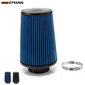 """EPMAN - 3 """"유니버설 크롬 입구 롱 램 콜드 인테이크 라운드 콘 에어 필터 (블루, 블랙) EP-AF002G"""