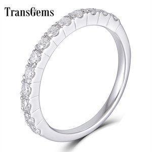 Transgems 14K 585 White Gold 0.48CTW 1.7mm Moissanite Half Eternity Wedding Band Stackable Band for Women Y200620