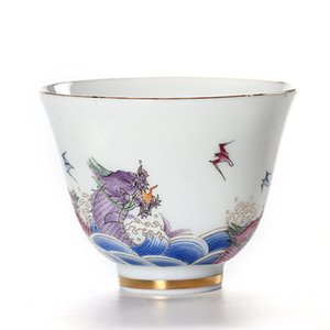 Hand-painted gold line tea cup white porcelain dragon tea cup personal single small tea bowl retro flower teacup,
