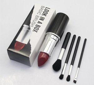 New Makeup Brand Look In A Box Basic Brush 4pcs set brushes set with Big Lipstick Shape Holder Makeup TOOLS good item