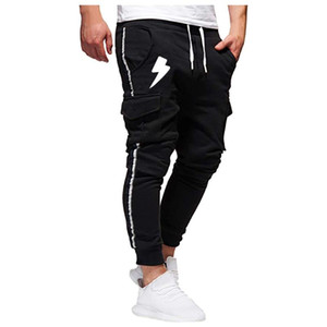Eillysevens 2020 Männer Splicing Printed Overalls lange Hosen beiläufige Taschen-Sport-Arbeitshose Hosen # g40