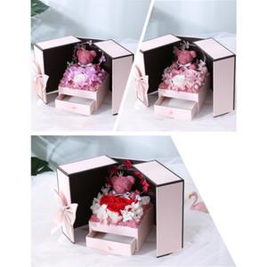 Valentinstag kreative Geschenk-Rose Ewige Blumen-Bär mit LED-Licht String Gift Box qixi Geburtstags-Geschenk XD23078