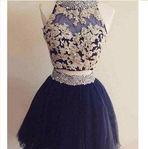 Latest Short Two Pieces Homecoming Dresses Beaded Crystal Appliques A-Line Prom Cocktail Graduation Gown QC1238