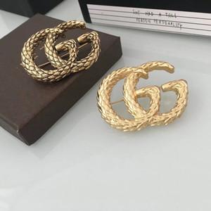 le signore delle donne di lusso delle donne di lusso hanno timbrato i perni delle spille di logo G grande con trasporto libero della scatola