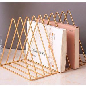 File Organizer Triangolo Iron Desktop Storage Book Rack Bookshelf Rivista di rame Giornuncio Holder Holder Collection 9 Sezione per ufficio casa
