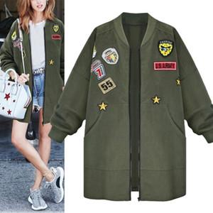 Womens Outono Coats Mulheres dos desenhos animados Jacket Magro Mulheres manga comprida Jacket Exército Verde Outwear Casacos Plus Size 5XL