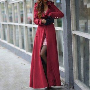 Brasão Moda Trench Mulheres Winter lapela roupas de Slim Longo Parka Overcoat Windbreaker Botão Long Coat corta vento feminina 2019