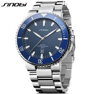SINOBI en acier inoxydable Hommes Montres Mouvement Quartz lumineux mains montre-bracelet Band Top Marque Luxury Business Montre Homme
