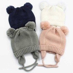 Cute Pompom Baby Hat Warm Winter Knitted Baby Accessories Girl Boy Beanie Cap Solid Color Kids Toddler Infant Bonnet Hat