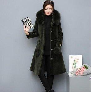 Top Women's Winter 2019 Top Overcoat Artificial Fur Coat Faux Sheep Outwear Long With Fur Cap Furry Femme Jacket AR73