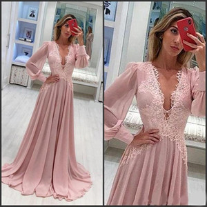 Dusty Rose Sexy Deep V Neck Evening Dresses Sweep Train Chiffon A Line Formal Party Prom Gown With Long Sleeves Special Evening Gowns