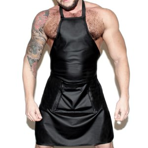 Faux leather Men Sexy Lingerie Maid Apron Open back Cosplay Party Nightwear Uniform Sexy Mens Costume Clubwear Outfits