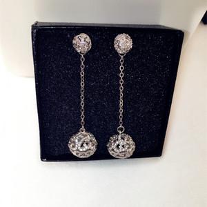 Wholesale-! fashion designer full diamonds double balls pendant stud drop dangle earrings for woman girls