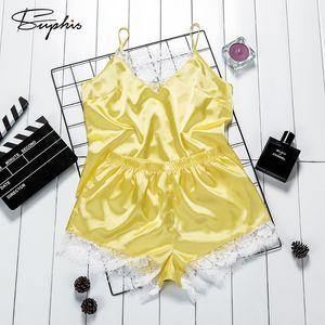 Suphis dentelle sexy col en V jaune satin de nuit Femmes Casual solide Spaghetti Strap manches Top Shorts Pyjama Vêtements Accueil