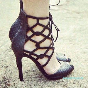 Wed2019 Frauen-Schuh-Rom-Sandelholz-Schlange Fisch-Mund-High-heeled-Paket mit Toe Bandage Damenschuhen