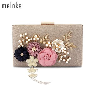 Meloke 2019 New Fashion Handmade Floral Evening Bags Wedding Clutch Bags With Pearl Chain Party Bags For Ladies Mn569 Y19051702