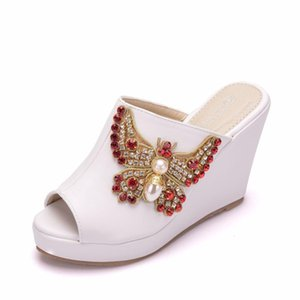 Rhinestone bow fish mouth wedges large size sandals and slippers waterproof platform sandals high heel fashion women's slippers