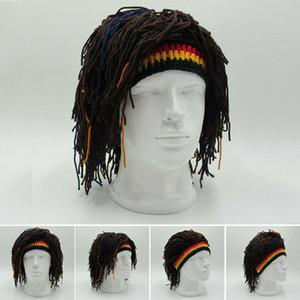 Reggae Dreadlocks Unisex Jamaikalı Örme kasketleri Peruk Örgü Şapka Parti Şapkası Rasta Saç Şapka