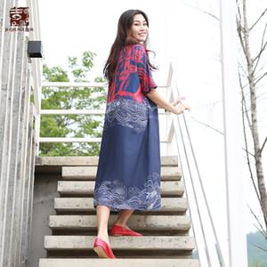 Jiqiuguer Femmes D'été Floral Loose Vestidos Demi Manches Plus Mi Veau O Cou 100% Lanon Imprimer Pull Occasionnel Robes G182Y096