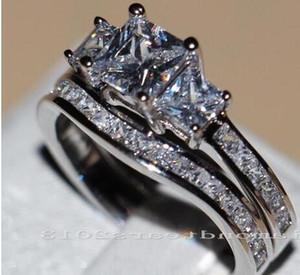 beyaz altın 10kt Güzel Victoria Wieck Lüks Takı Kadınlar için Topaz Simüle Elmas Düğün prenses Gelin Rings doldurdu.