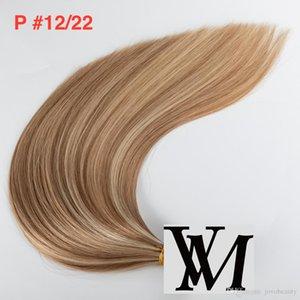 Vmae Piano Couleur des cheveux Tied Main Trame Simple Dessiné soie droit doux naturel Blond Brun Mix Couleur Vierge Remy Extension de cheveux humains