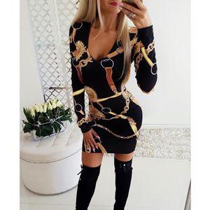 Sexy Глубокий V-образный вырез дворец Печать Bodycon платье Женщины с длинным рукавом Элегантная платье офис леди непостоянная работа мини-платье