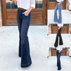 HEFLASHOR Automne Femmes Wide Leg Jeans Pantalons simple Cadrage en Jeans Slim long Jean Leggings Pantalon taille haute Demin