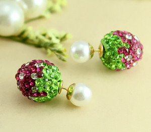 Wholesale-Crystal Strawberry crystal Beads Earrings Double Side imitation Pearl Piercing Stud earrings for women And Girls RR723