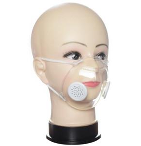 Trasparente mascherina con valvola PP trasparente maschera con doppio respirazione maschere valvola anti-polvere lavabile sordomuto maschere Designer GGA3538-4