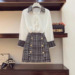 2018 Autumn Women Long Sleeves Turn-down Collar Shirts + Tweed Button Design Slim Skirt 2 pcs sets Female Fashion Suits A468