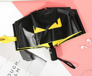 HOT الشيطان العين أحد مظلة قابلة للطي مظلة بلاستيكية سوداء مظلة التلقائي ذات الاستخدام المزدوج حماية من الأشعة فوق البنفسجية بالكامل التلقائي