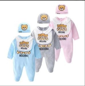 Fashion Baby Clothes set Cute Newborn Infant Baby Boys Letter Romper baby girl bibs Cap Outfits Set
