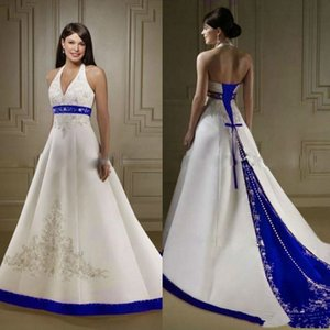Cheap Court Train Ivory and Royal Blue A Line Wedding Dresses Halter Neck Open Back Lace Up Custom Made Embroidery Wedding Bridal Gowns