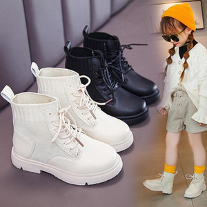 Children Martin Boots Leather Shoes Boys Autumn Winter Warm Cotton Shoes Fashion Girls Kids Boots Non-slip