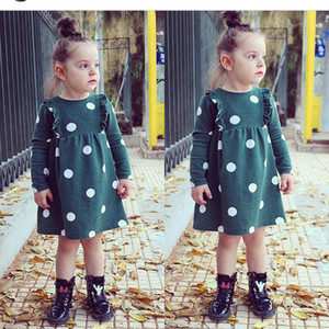 5595 Baby Girls Dress Long Sleeve Ruffles Girl Dots Dress Children Princess Casual Dresses