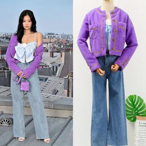 Kpop BlackPink Jennie 2019 mode violet court Cardigan en maille Haut manteau et dame taille haute jean droit des femmes Ensemble deux pièces