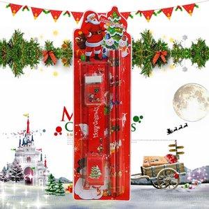 Natal Papelaria Set Pencil Eraser Combinação 24x7cm Escola Primária Holiday Gift