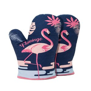 1 Piece Flamingo Baking High Temperature Resistance Glove Microwave Oven Heat Insulation Thickening Keep Warm Driving Gloves